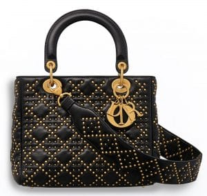 Dior Black Studded Lambskin Supple Lady Dior Bag