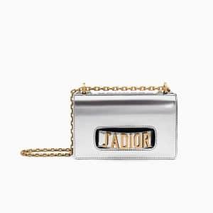 Dior Silver-Tone Metallic Calfskin Small J'adior Flap Bag