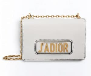 Dior White J'adior Flap Bag with Chain