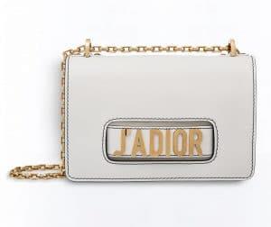 Dior White J'adior Flap Bag with Chain