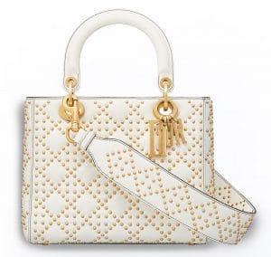 Dior White Studded Calfskin Supple Lady Dior Bag