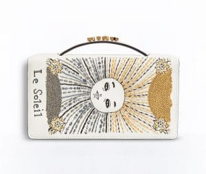 Dior White The Sun Card Embroidered Tarot Pouch Bag