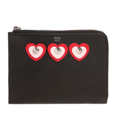 Fendi Heart Appliqués Leather Pouch