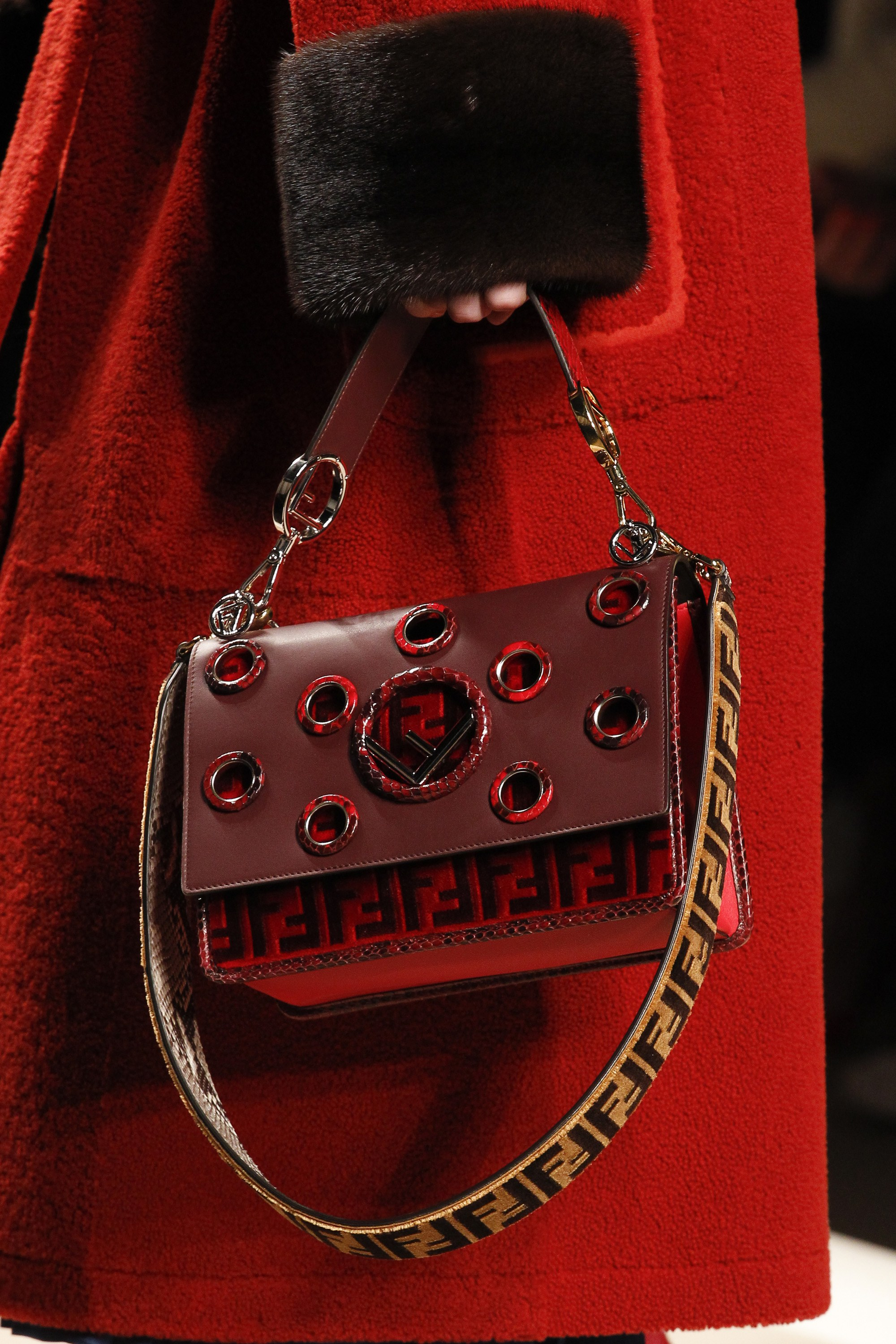59871e7db79 Fendi Red with Grommets and Zucca Pattern Flap Bag - Fall 2017