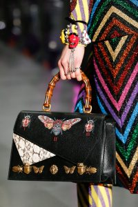 Gucci Black Butterfly Embellished and Printed Bamboo Top Handle Bag 2 - Fall 2017