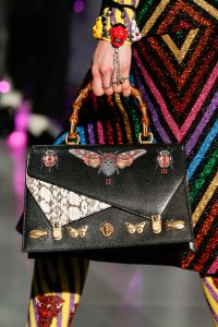 Gucci Black Butterfly Embellished and Printed Bamboo Top Handle Bag - Fall 2017