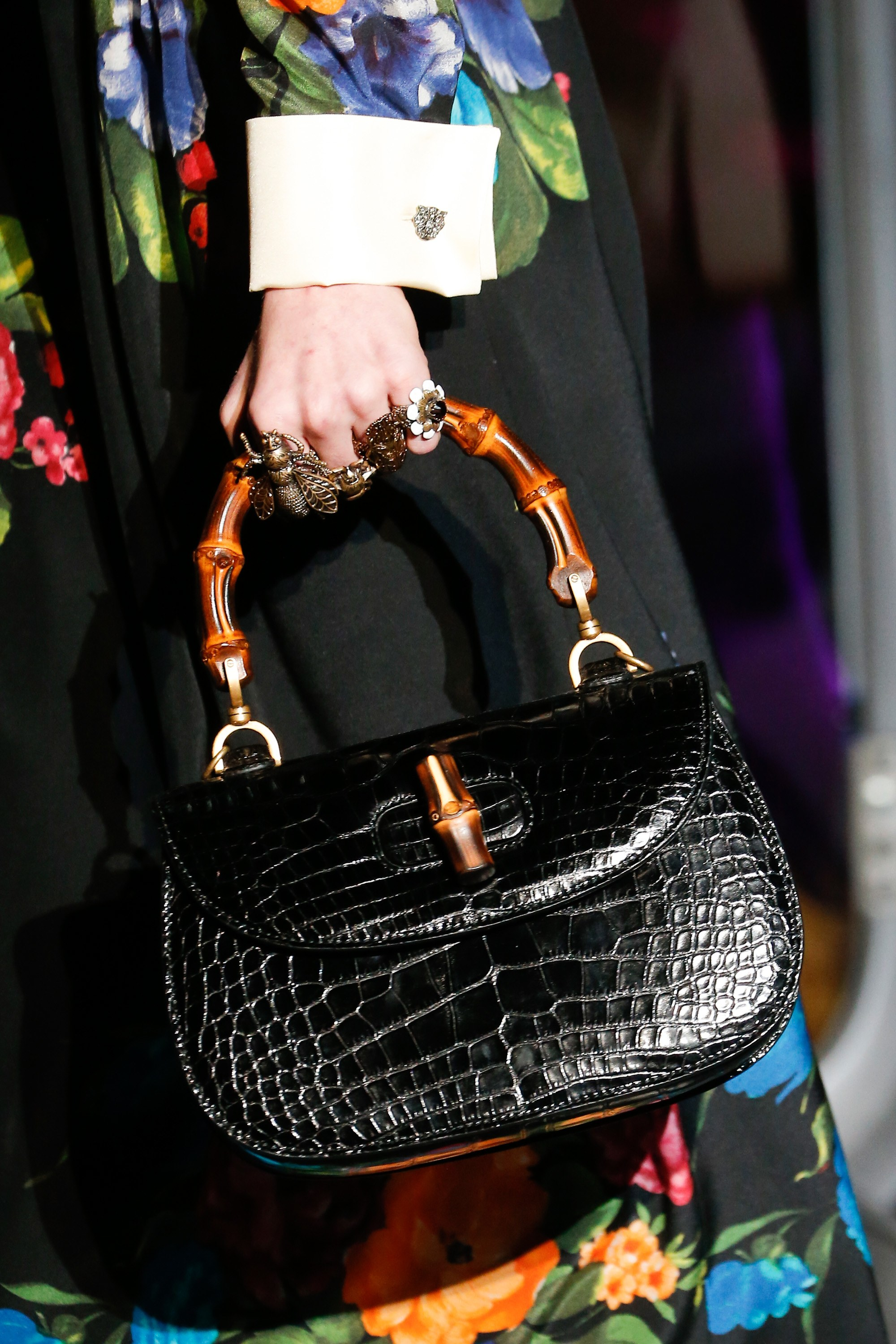 gucci bags 2017 black. gucci black crocodile bamboo top handle bag - fall 2017 bags