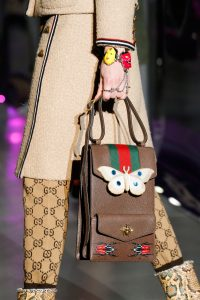 Gucci Brown Butterfly Embellished Satchel Bag - Fall 2017