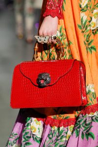 Gucci Red Crocodile Bamboo Top Handle Bag - Fall 2017