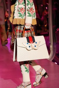 Gucci White Ostrich with Butterfly Embellishment Sylvie Top Handle Bag - Fall 2017
