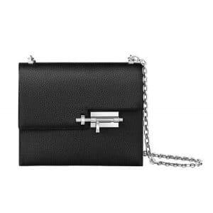Hermes Black Mysore Goatskin Verrou Chaine Bag