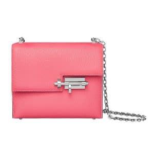 Hermes Lipstick Pink Mysore Goatskin Verrou Chaine Bag