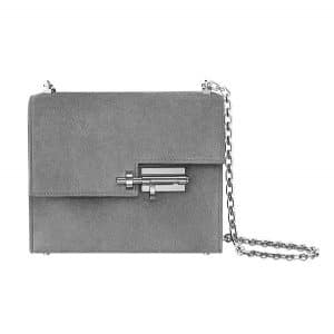 Hermes Smoked Gray Doblis Calfskin Verrou Chaine Bag