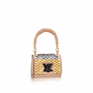 Louis Vuitton Beige Studded and Sequin Embroidered Twist PM Bag
