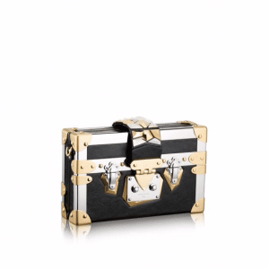 Louis Vuitton Black Calfskin with Metal Trim Petite Malle Bag