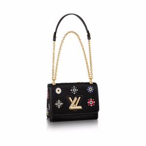 Louis Vuitton Black Epi Twist MM Mechanical Flowers Bag