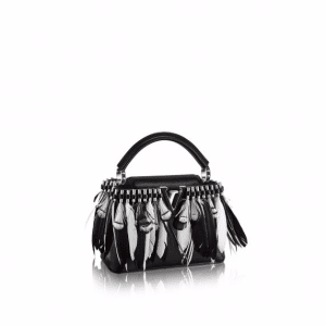Louis Vuitton Black Feather Embellished Capucines Mini Bag