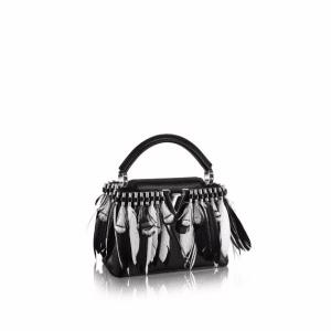 Louis Vuitton Black Feather Embellished Capucines Mini Bag