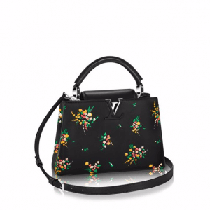 Louis Vuitton Black Multicolor Flower Print Capucines PM Bag