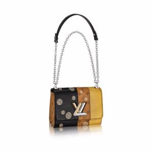 Louis Vuitton Black/Gold Smooth Cowhide and Monogram Reverse Twist MM Bag
