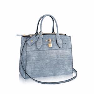 Louis Vuitton Denim Epi City Steamer MM Bag