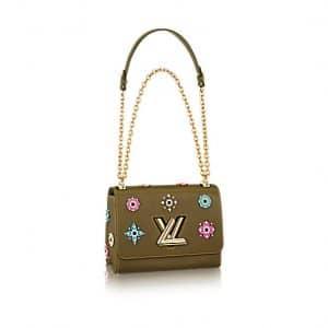Louis Vuitton Khaki Epi Twist MM Mechanical Flowers Bag