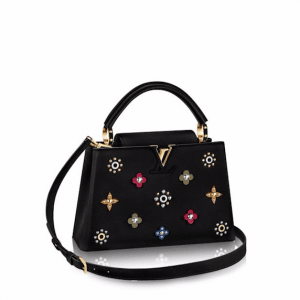 Louis Vuitton Noir Capucines PM Mechanical Flowers Bag