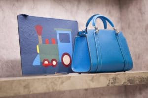 Moynat Blue Petite Ballerine and Train Pouch Bags