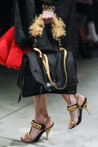 Prada Black with Beige Fur Handle Satchel Bag - Fall 2017