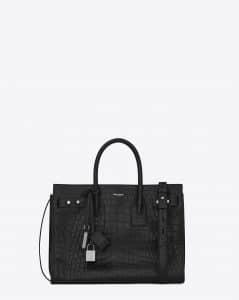 Saint Laurent Black Crocodile Embossed Small Sac De Jour Souple Bag