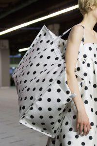 Balenciaga White/Black Polkadot Bazar Shopper XL Bag - Fall 2017