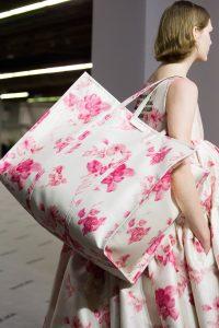 Balenciaga White/Pink Floral Bazar Shopper XL Bag - Fall 2017
