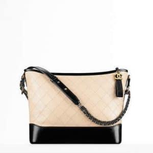 Chanel Beige/Black Large Gabrielle Hobo Bag