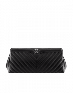 Chanel Black Chevron Clutch Bag
