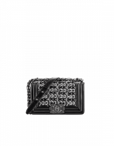 Chanel Black Embroidered Lambskin Small Boy Chanel Flap Bag