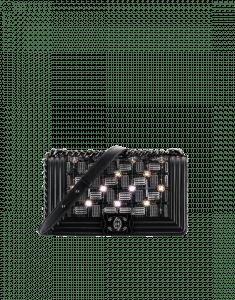 b3965c939882 Chanel Black Embroidered Satin/Led/Lambskin with Black Metal Old Medium Boy  Chanel Flap