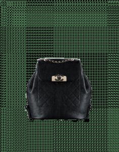 Chanel Black Grained Calfskin Backpack Bag
