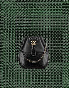 Chanel Black Lambskin/Python Small Gabrielle Purse Bag