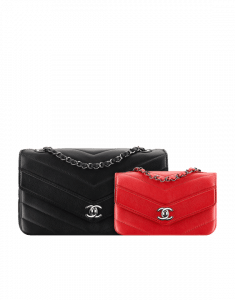 Chanel Black Large and Red Mini Chevron Flap Bags