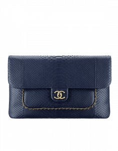 Chanel Navy Blue Python CC Unchained Clutch Bag