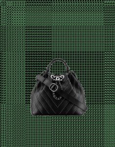 Chanel Black Stud Wars Drawstring Bag