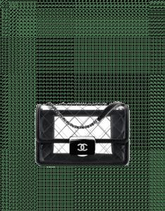 Chanel Black Transparent Toile/Lambskin Beauty Lock Large Flap Bag