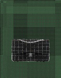 Chanel Black/Gold/Silver Tweed/Lambskin Medium Classic Flap Bag