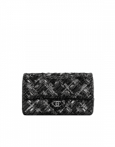 Chanel Black/Gray/Silver Embroidered Tweed Medium Classic Flap Bag
