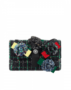 Chanel Black/Green/Blue/Red Tweed with Camellia Flap Bag