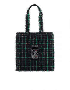 Chanel Black/Green/Blue/Silver/Red Tweed Large Shopping Bag