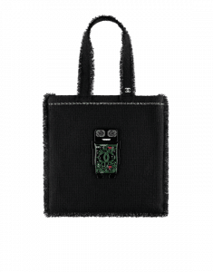 Chanel Black/Green/Silver/Red Tweed Large Shopping Bag