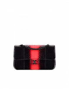 Chanel Black/Red Python with Black Metal Medium Classic Flap Bag