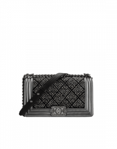 Chanel Black/Silver Embroidered Jersey Old Medium Boy Chanel Flap Bag