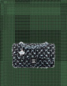 Chanel Black/White/Light Blue Woven Denim Flap Bag
